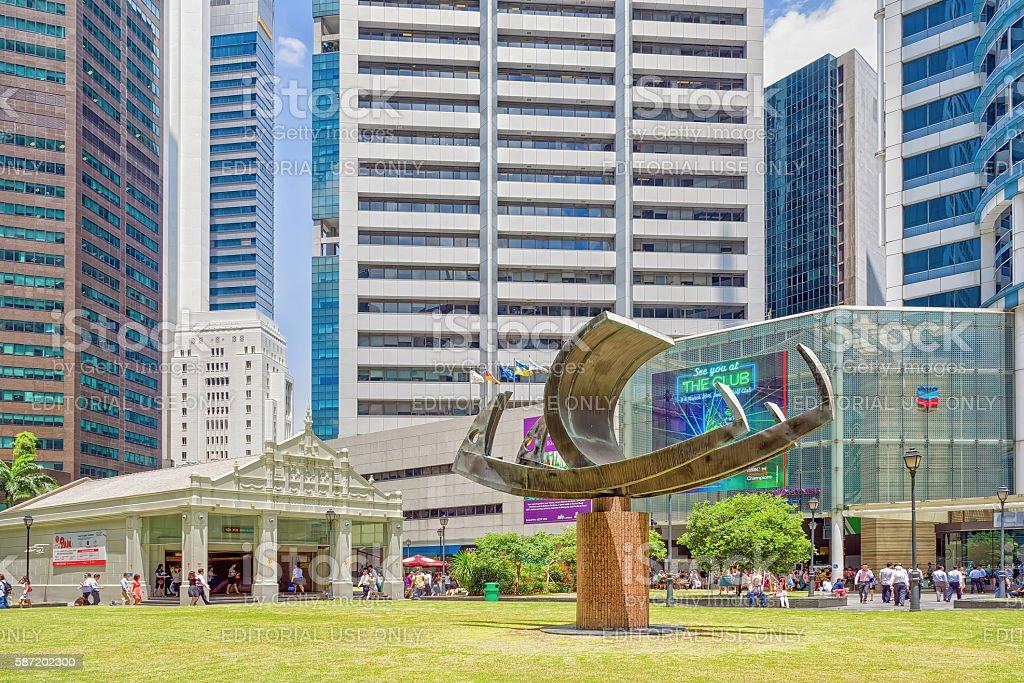 Ship sculpture near One Raffles Place MRT subway entrance stock photo