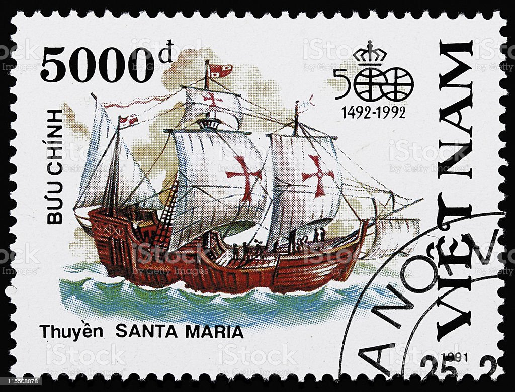 Ship stamp from Vietnam stock photo