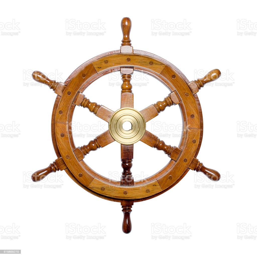 ship steering wheel isolated on white stock photo