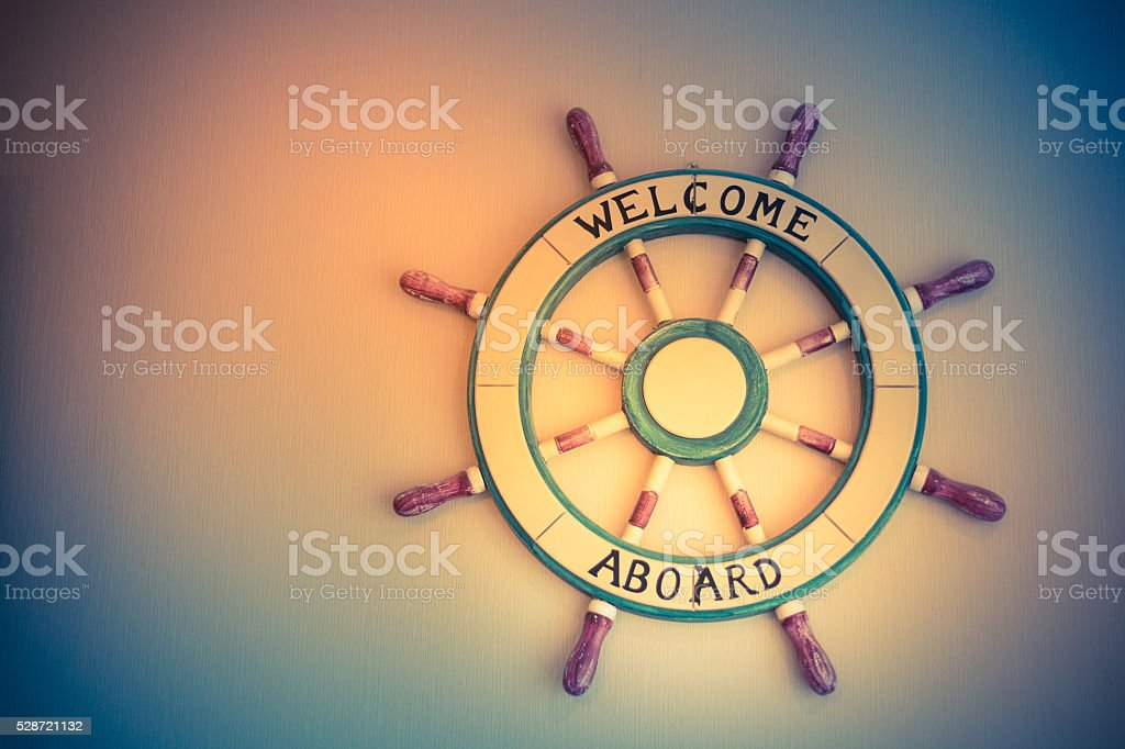 Ship steering wheel stock photo