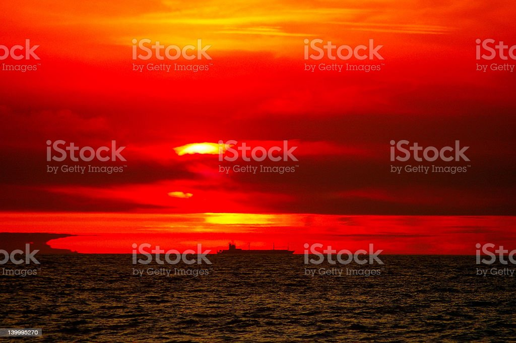 Ship sunset royalty-free stock photo