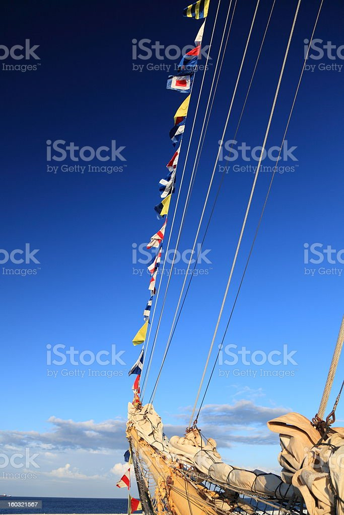 Ship tackles, Rigging on a old frigate royalty-free stock photo