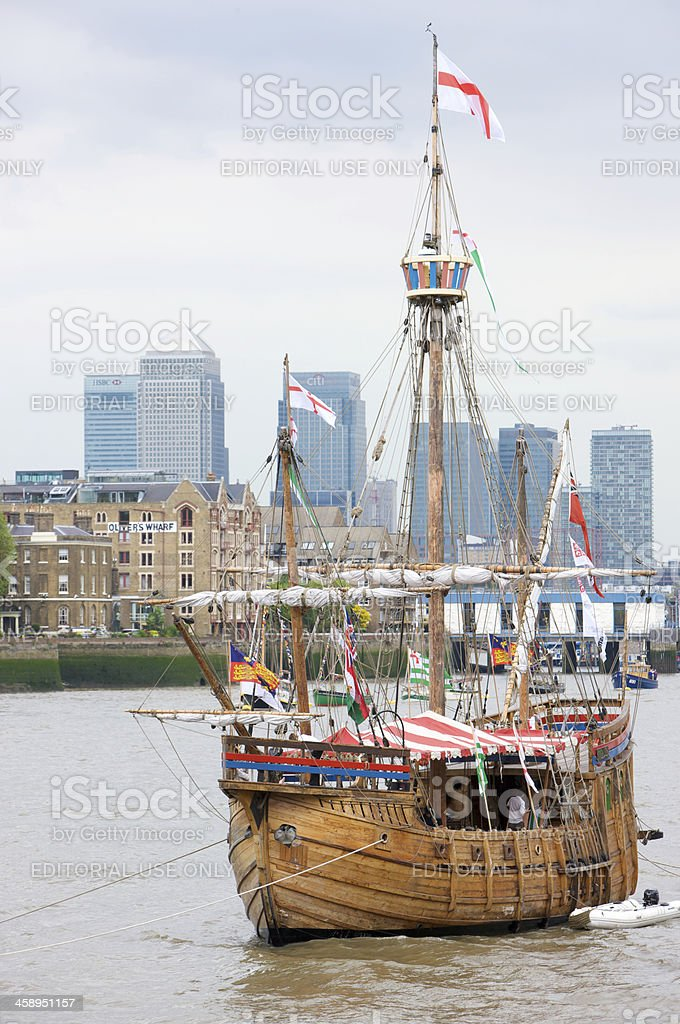 Ship The Matthew on River Thames, Canary Wharf in background royalty-free stock photo