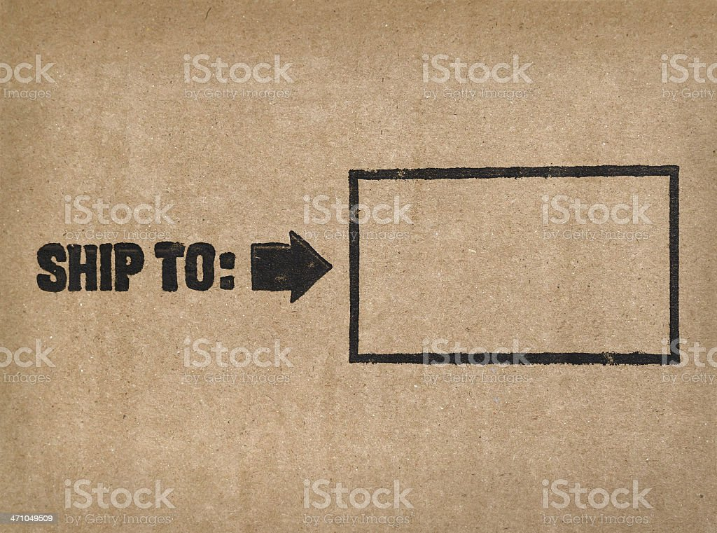 'Ship to:' Label on cardboard stock photo