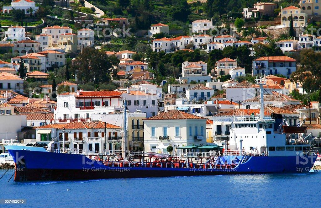 Ship transfer water to Spetses island, Greece stock photo