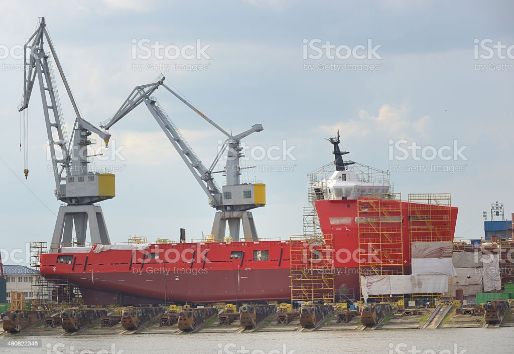 ship under construction stock photo