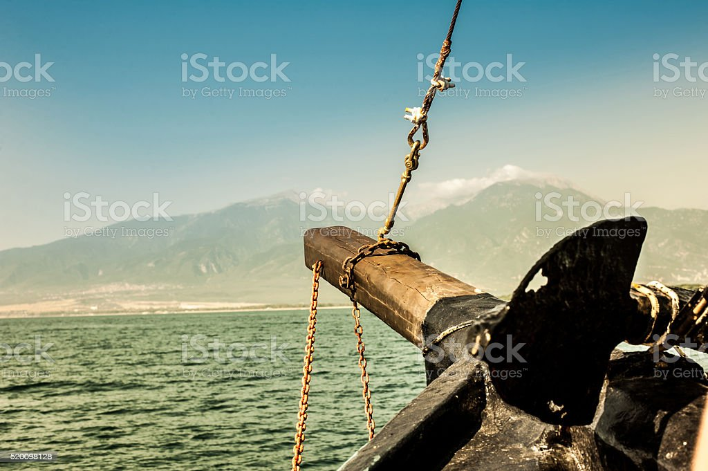 Ship View on mountain and sea background stock photo