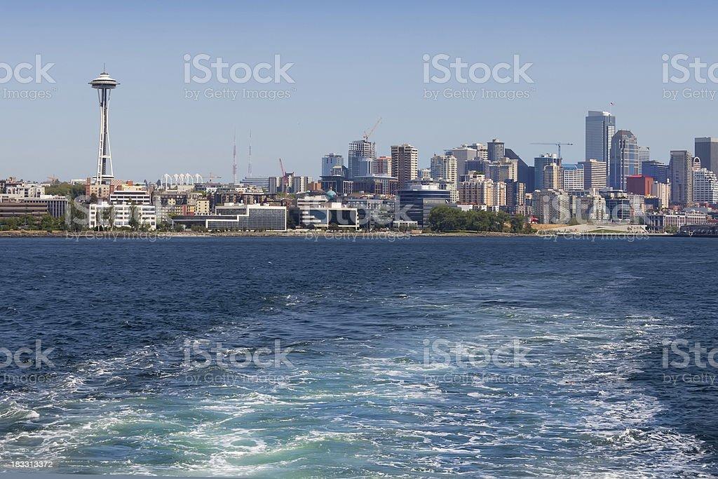 Ship Wake in Puget Sound, Seattle background (XXL) stock photo