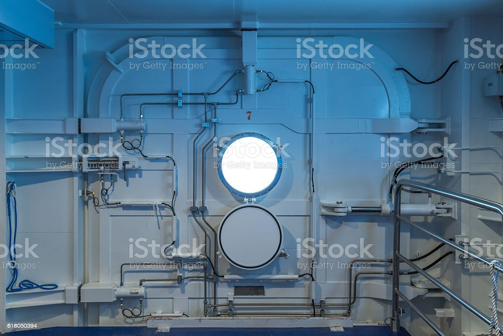 ship watertight door stock photo