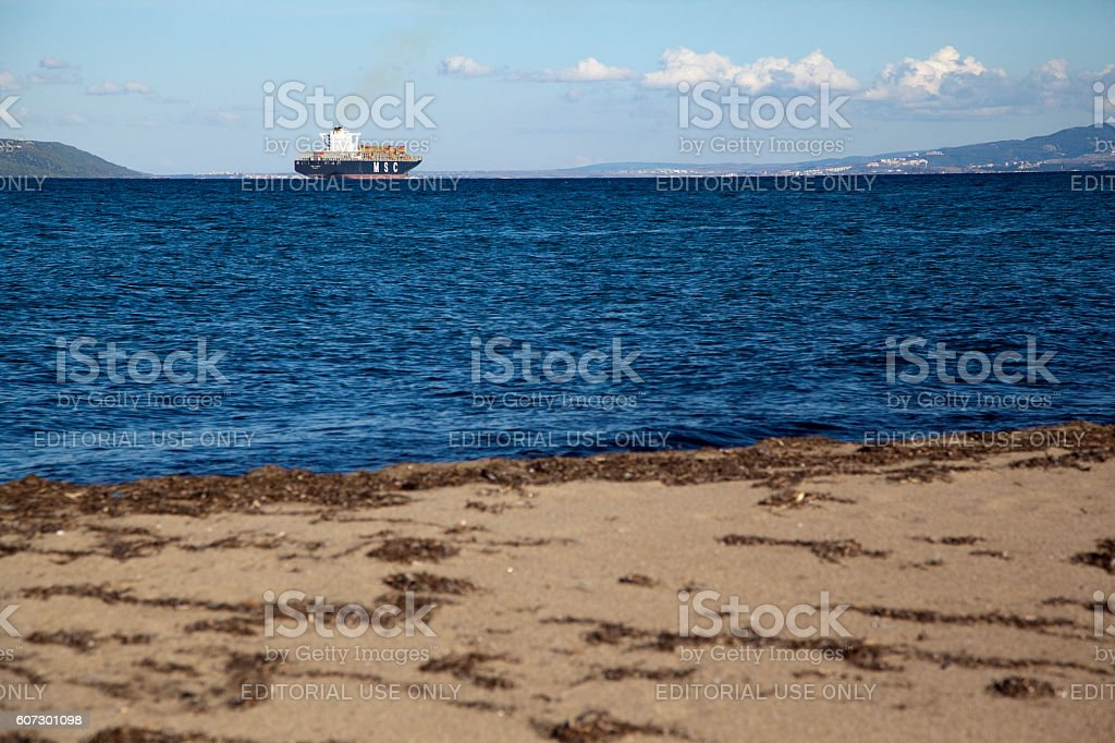 Ship were passing by The Dardanelles. stock photo