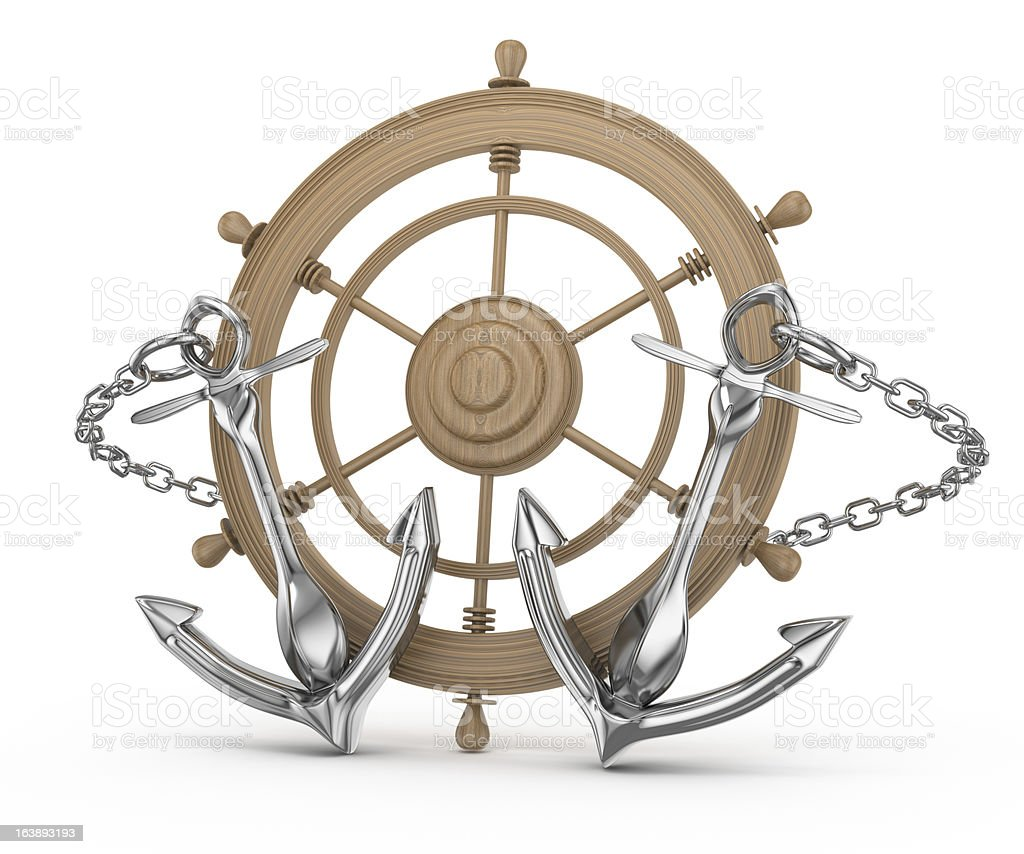 ship wheel and anchors royalty-free stock photo