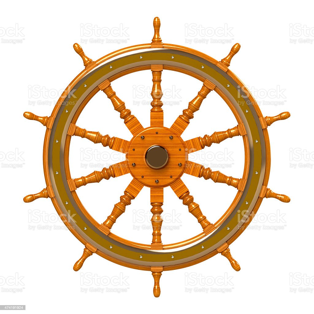 ship wheel isolated vector art illustration