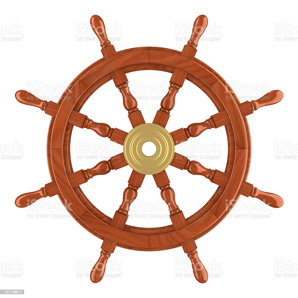 Ship wheel (clipping path included) royalty-free stock photo
