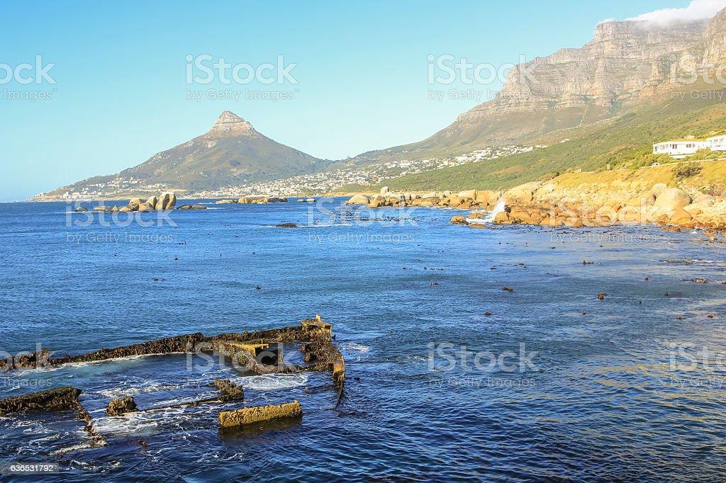 Ship wreck Cape Town stock photo