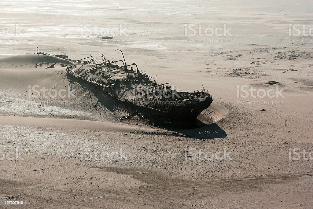 Ship wreck on skeleton coast royalty-free stock photo