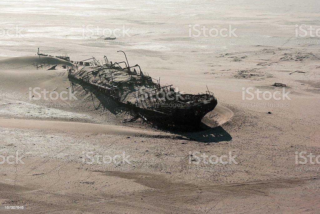 Ship wreck on skeleton coast stock photo