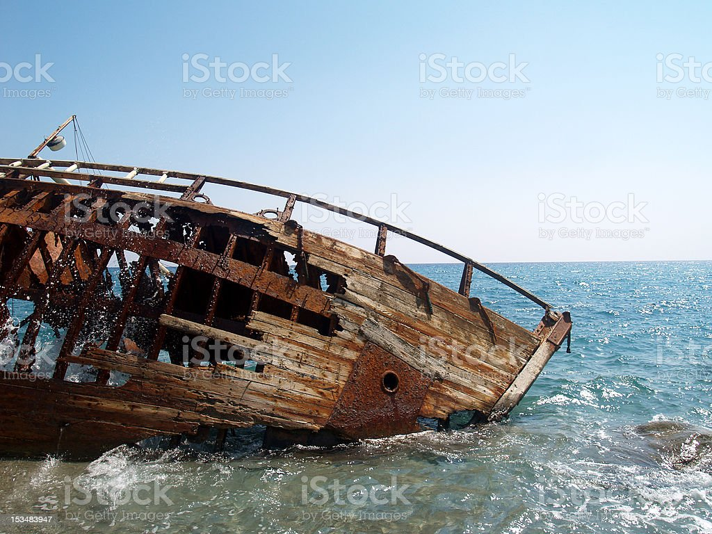 ship wreck on the beach royalty-free stock photo