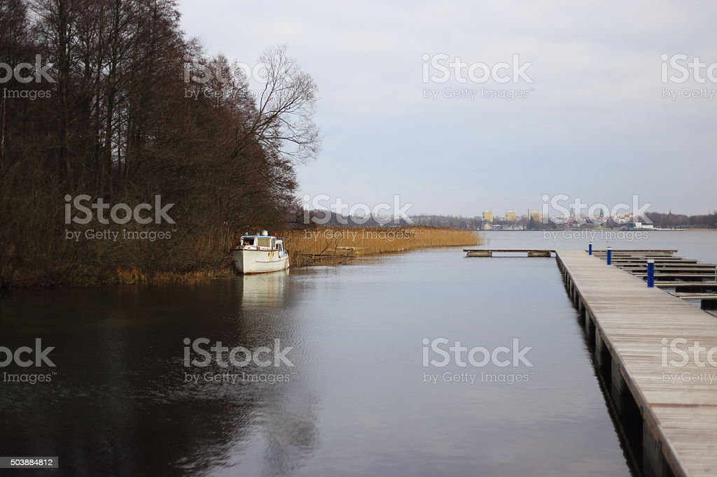 Ship Wrecked Boat  on the lake royalty-free stock photo