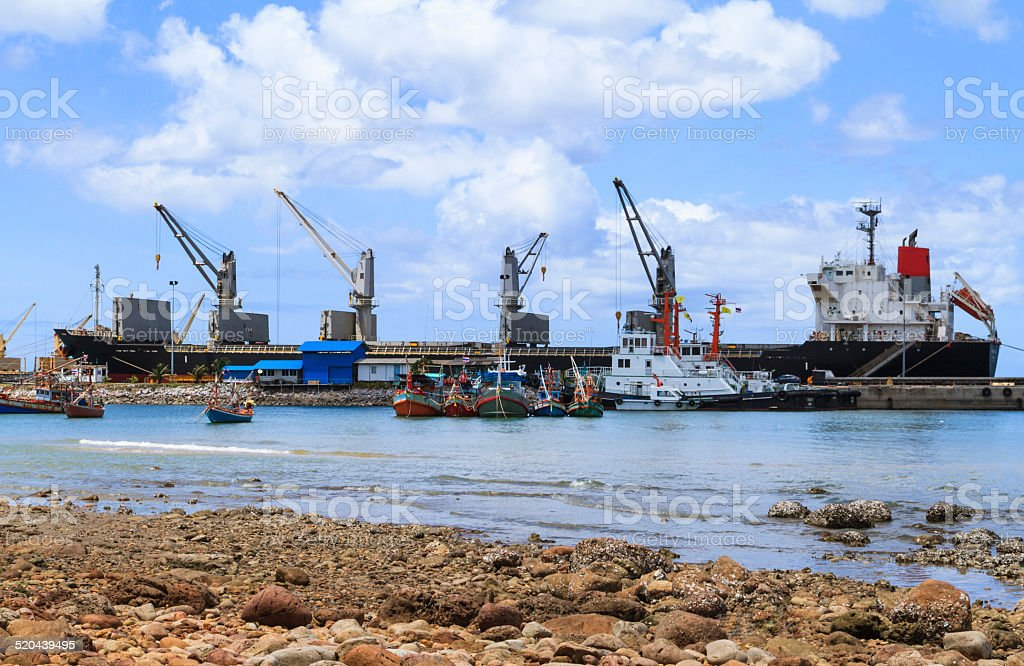 Ship yard with heavy crane stock photo