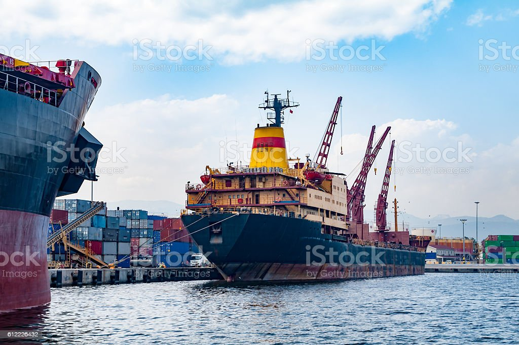 shipboard cranes stock photo