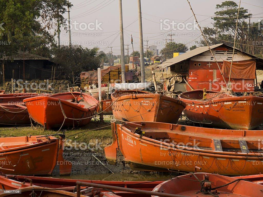 Shipbreaking yards in Bangladesh stock photo