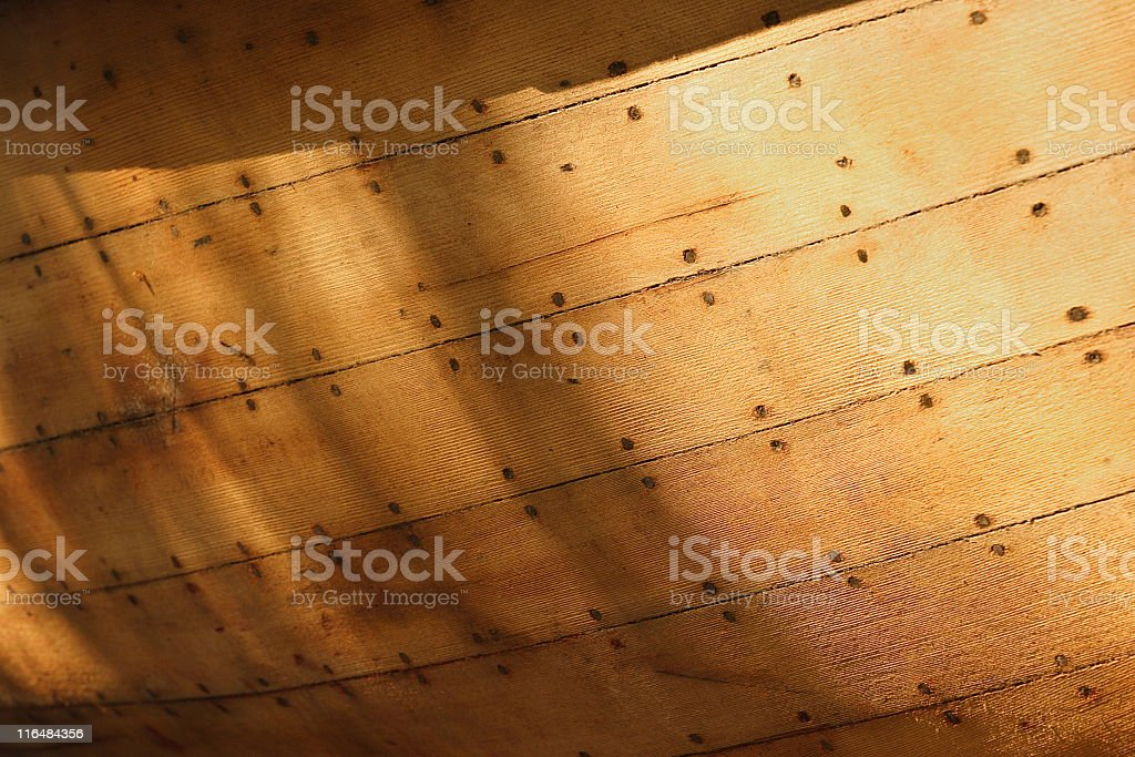 Boat Hull Wood Plank Repair stock photo