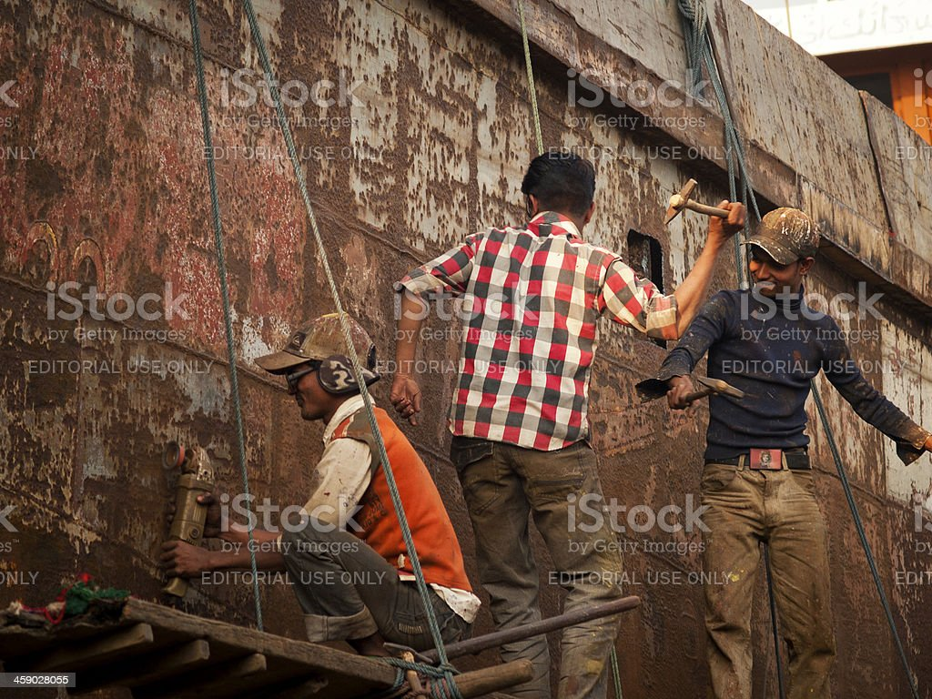 Shipbuilding and ship breaking industry in Bangladesh stock photo