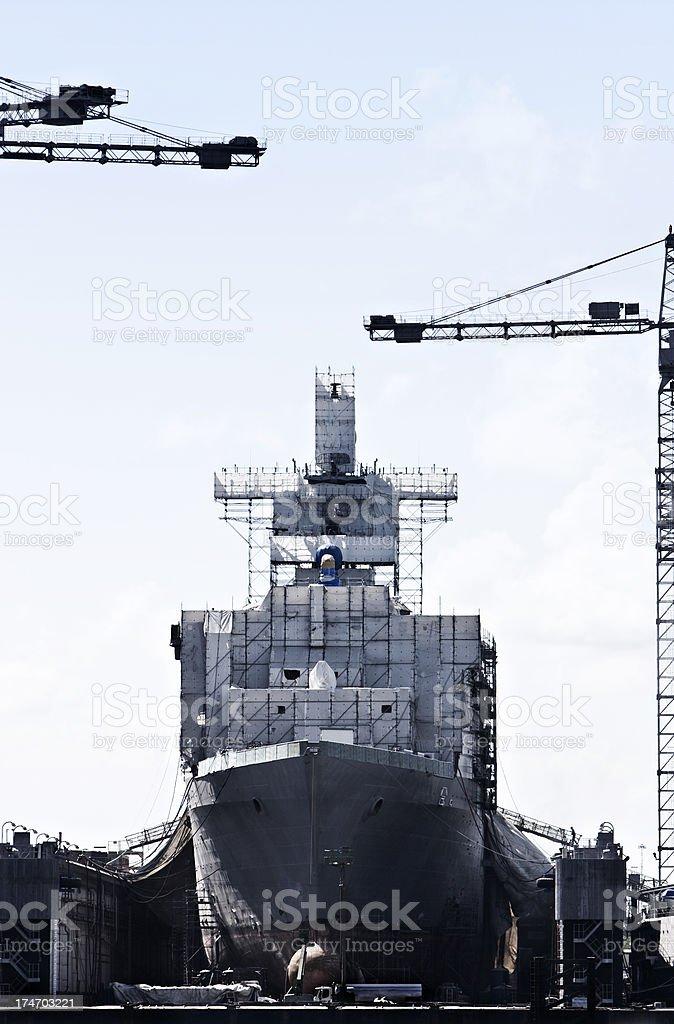 Shipbuilding in shipyard - Norfolk, VA stock photo