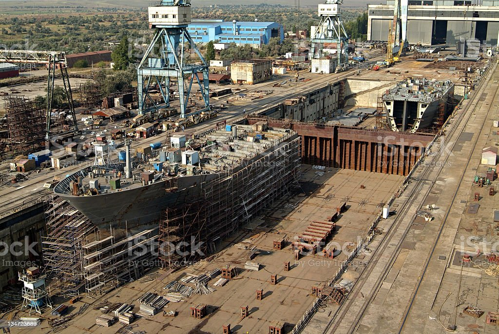 shipbuilding, ship repair royalty-free stock photo