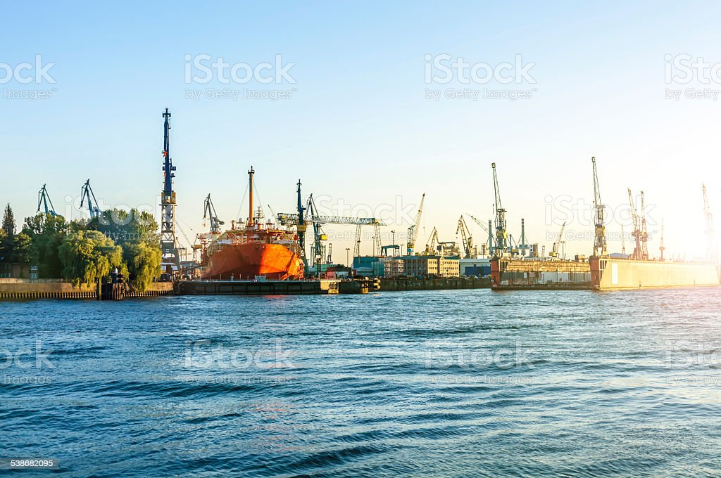 Shipbuilding yard in Hamburg stock photo