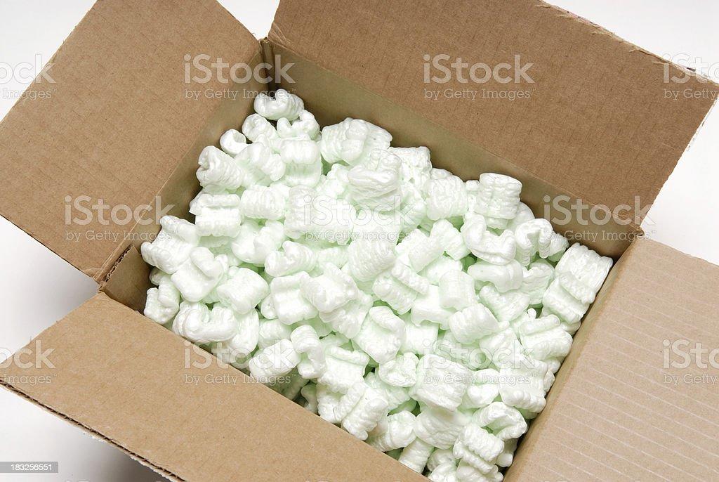 Shipping box with peanuts #3 royalty-free stock photo