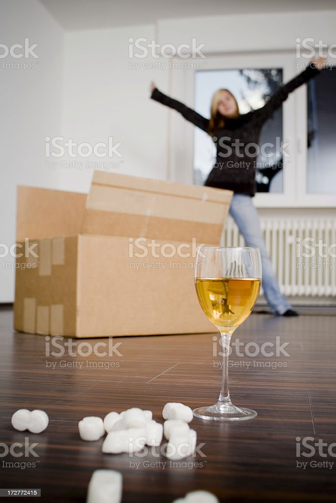 Shipping box with wine and packing peanuts royalty-free stock photo