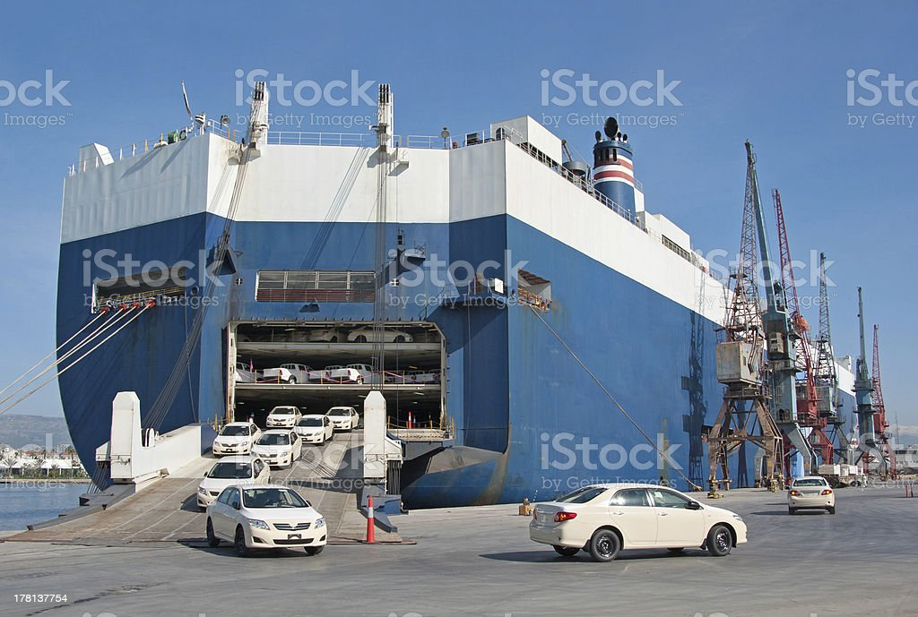 Shipping Cars RO-RO - Roll On/Roll Off stock photo