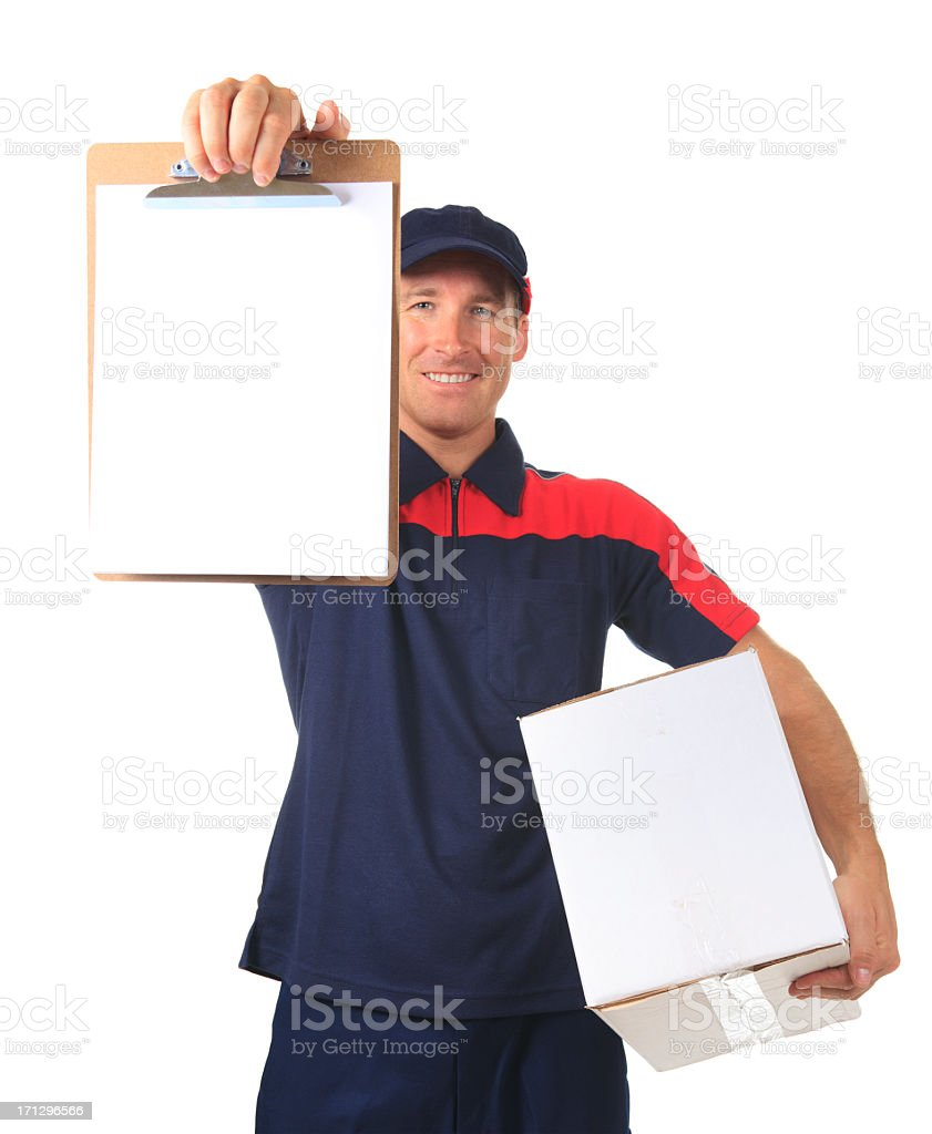 Shipping Company Worker - Sign with Box royalty-free stock photo