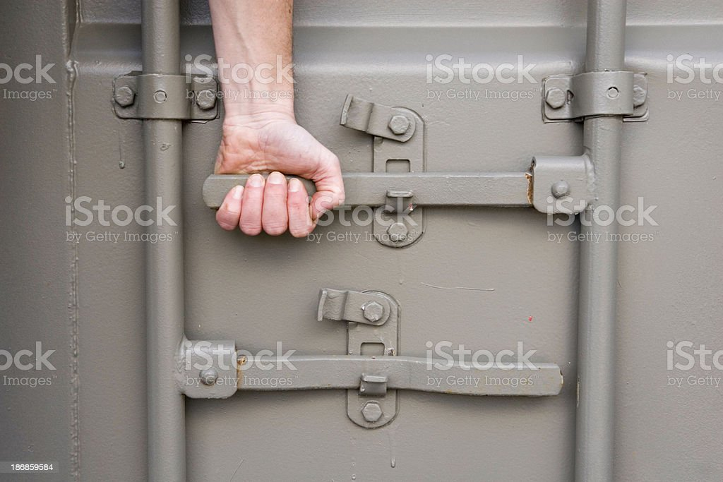 Shipping Container Door stock photo