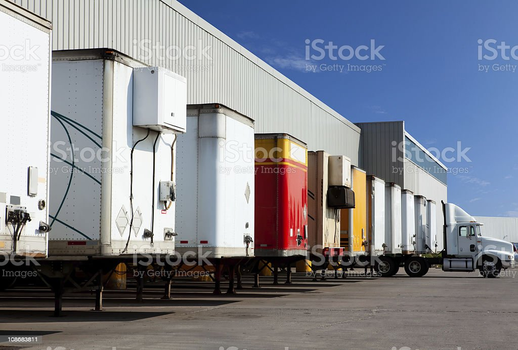Shipping containers and truck royalty-free stock photo