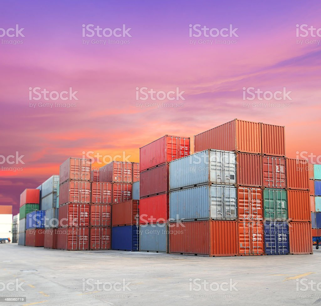 Shipping containers at the docks with beautiful sky stock photo