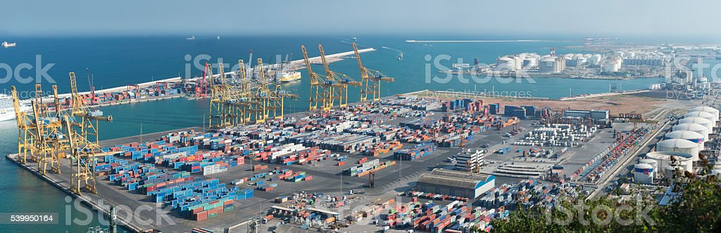 Shipping Containers at the Industrial Port of Barcelona stock photo
