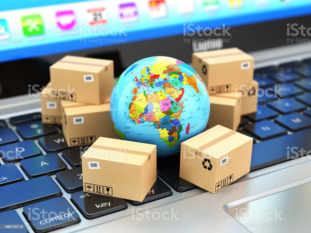 Shipping, delivery  logistic concept. Earth and cardboard boxes stock photo