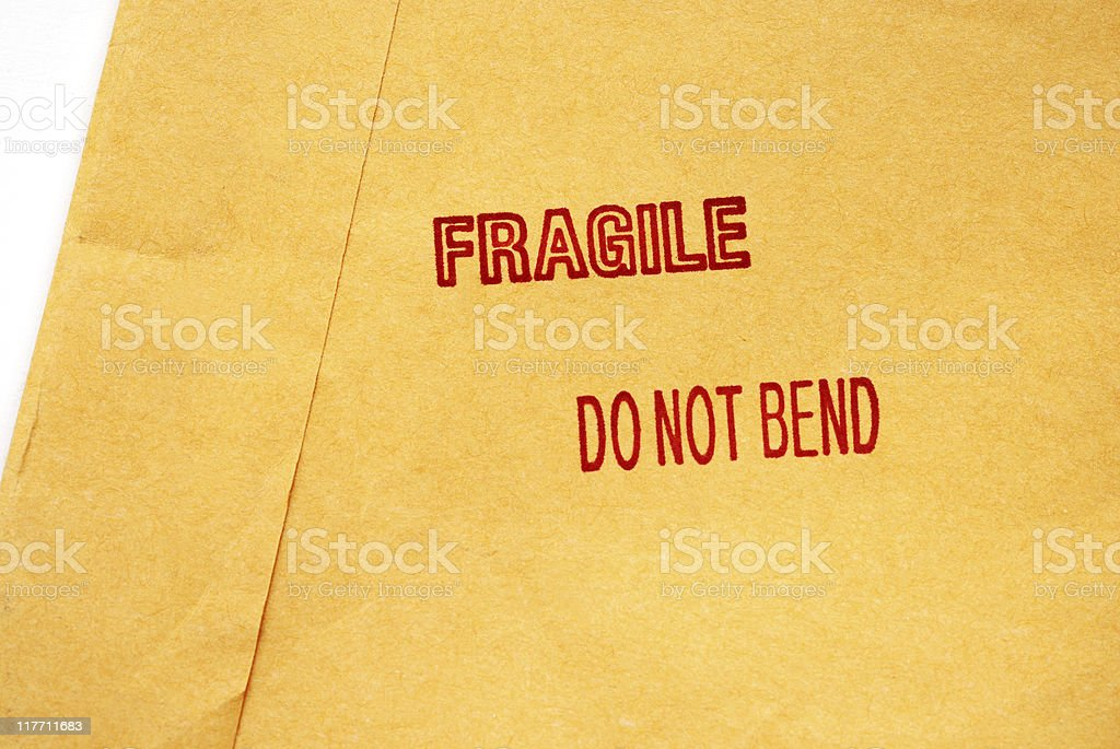 Shipping envelope with fragile stamp royalty-free stock photo