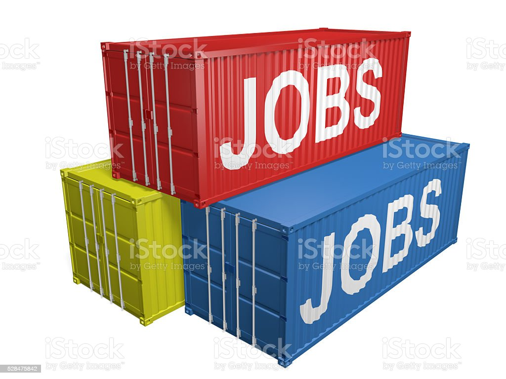 Shipping export containers labeled for job outsourcing, 3D rendering stock photo