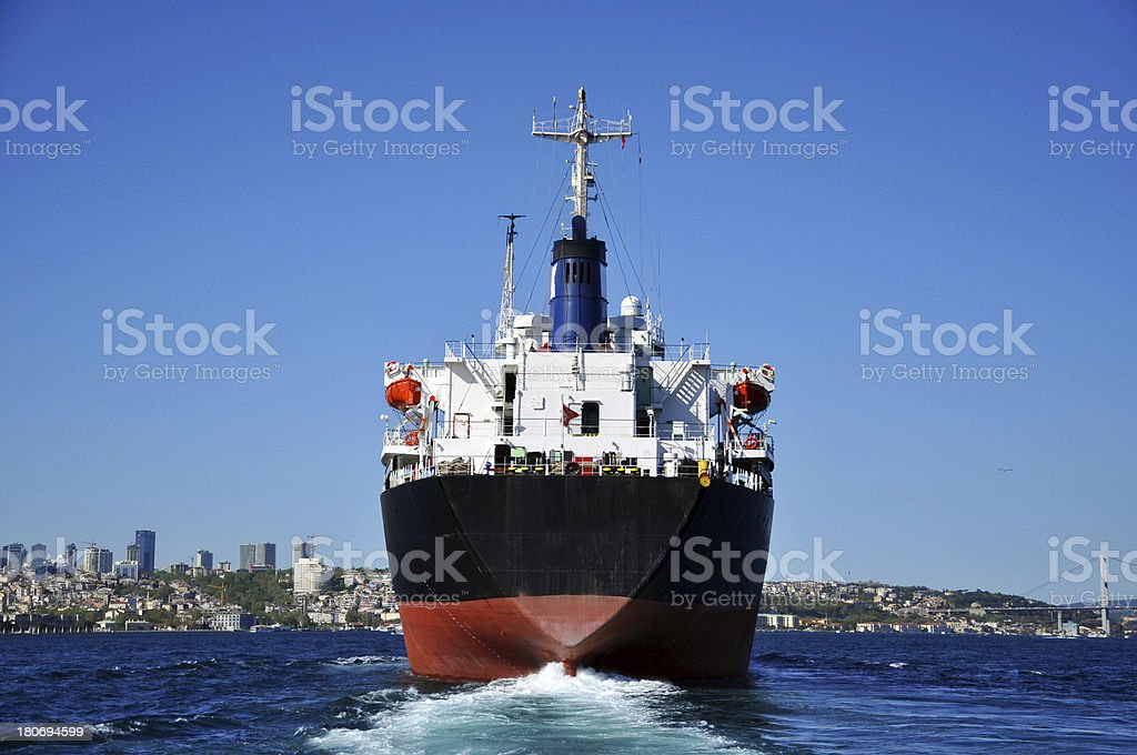 \'A bulk carrier sailing up the Bosphorus straits in Istanbul, Turkey....