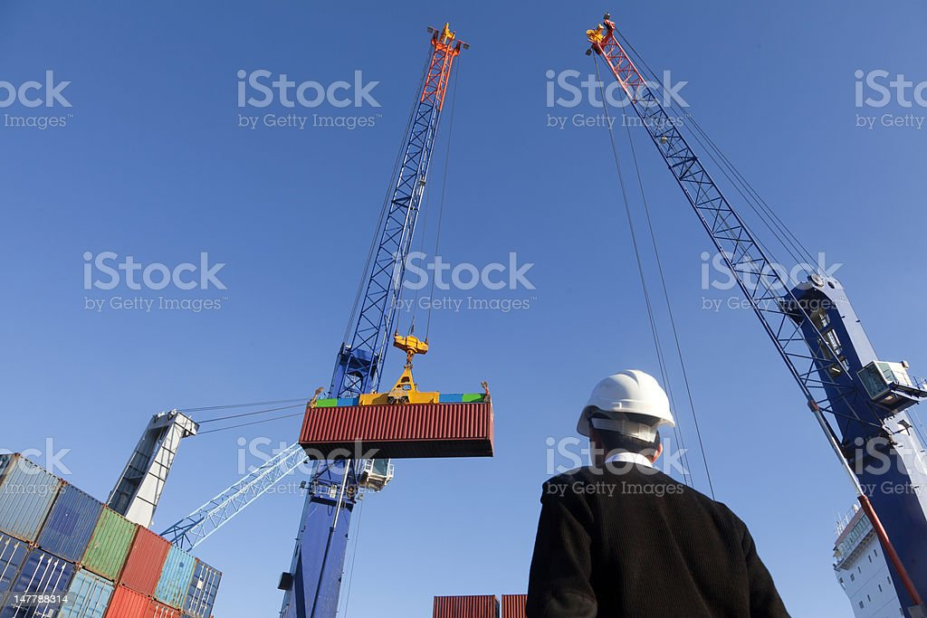 Shipping of containers stock photo