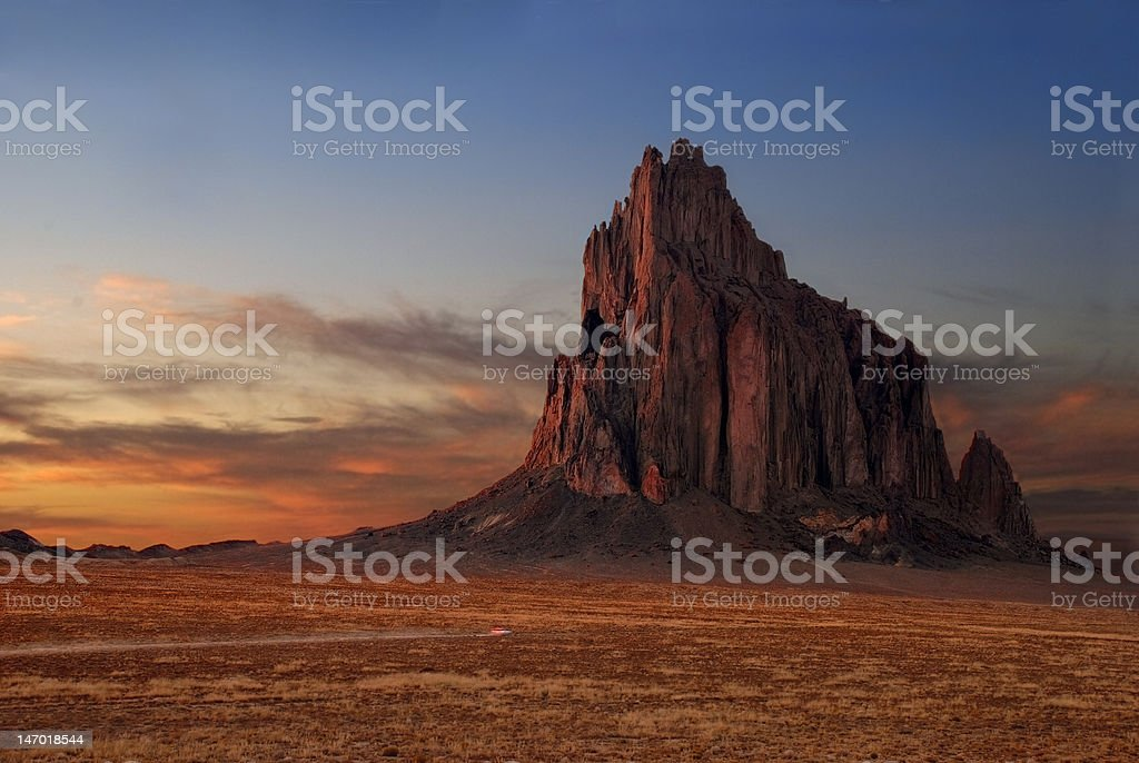Shiprock at Sunset stock photo
