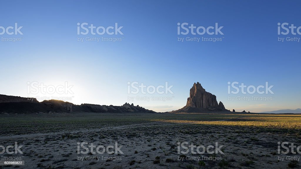 Shiprock at Sunset stock photo