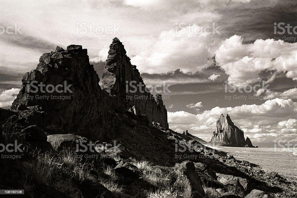 Shiprock Landscape, Rocky Coastline, Black and White stock photo