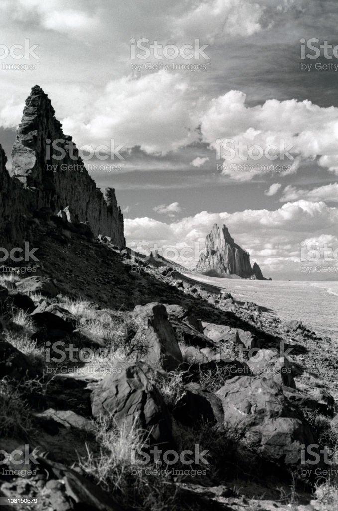 Shiprock, New Mexico, Black and White stock photo