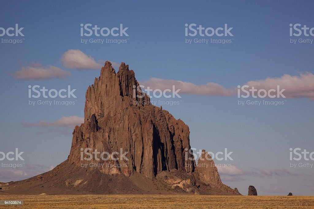 Shiprock, New Mexico in the morning stock photo