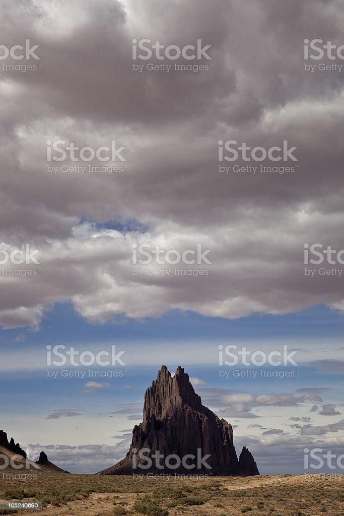 Shiprock, sacred peak of the Navajo, in New Mexico stock photo