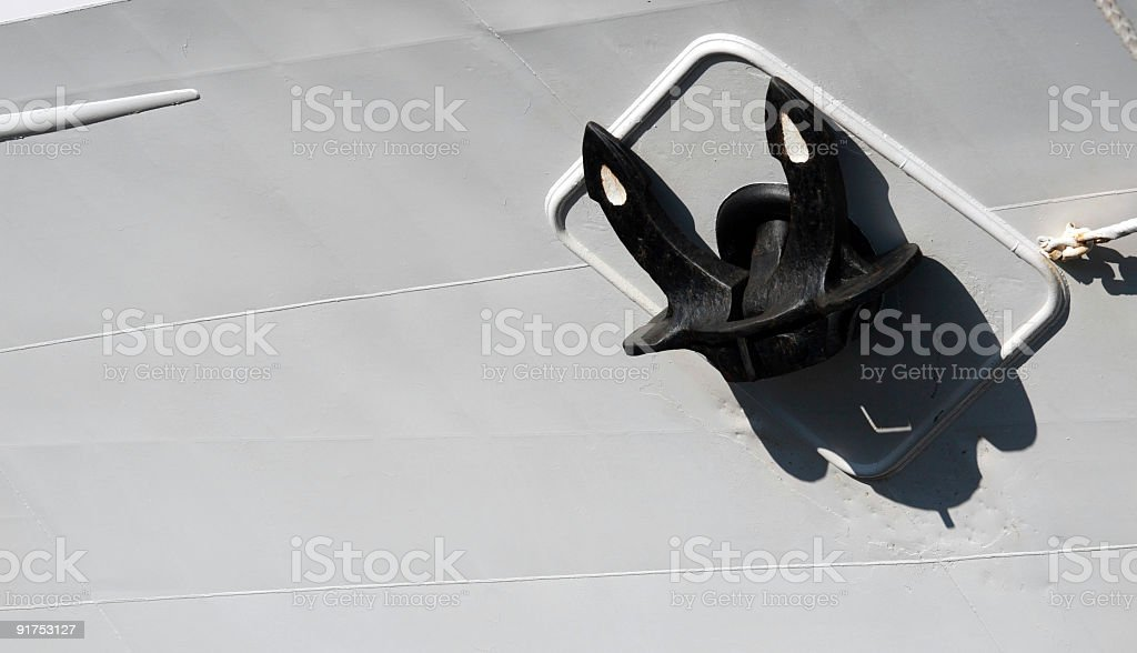 ships anchor on white hull royalty-free stock photo